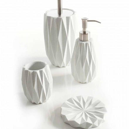 Modern bathroom accessories set made with white resin Levice