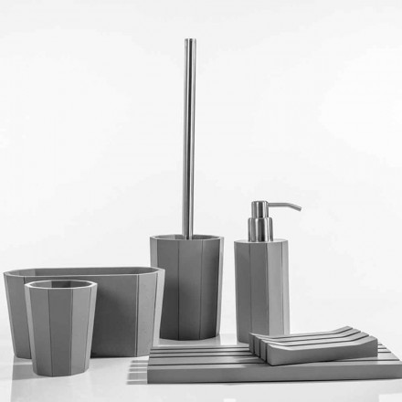 Modern bathroom accessories set made with resin Rivello