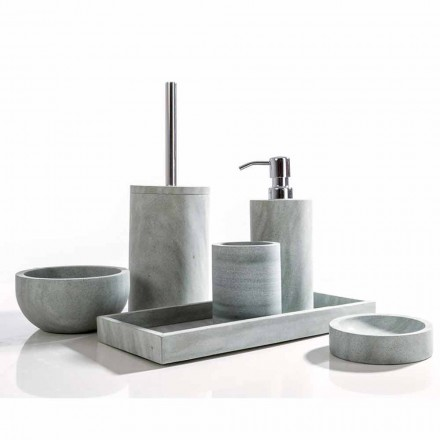 Modern bathroom accessories set in gray stone Montale