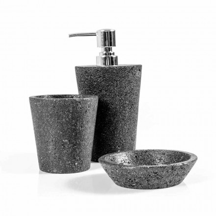 Modern bathroom accessories set in lava stone Montiano