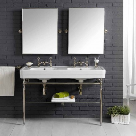 Bathroom set with vintage double console in white ceramic on a Linear structure