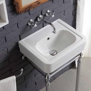 Bathroom set with washbasin on frame and mirror in creativity briccole