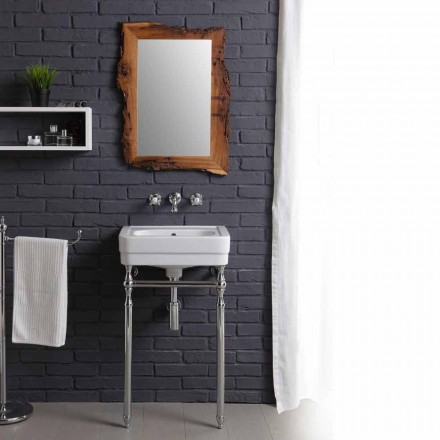 Bathroom set with vintage basin on structure and mirror in Briccola Creativity