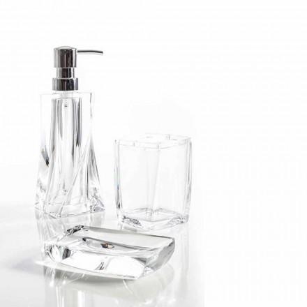 Modern set for bathroom dispenser, glass, soap holder Torraca