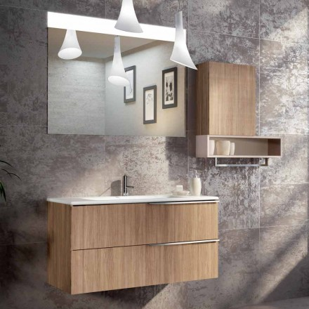Design suspended bathroom composition in ecowood made in Italy, Cesena