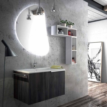 Design suspended bathroom composition made in Italy, Trieste