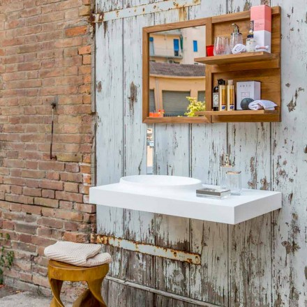 Modern suspended bathroom furniture set in solid surface Brusson