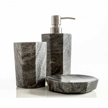 Modern bathroom accessories set in gray veined marble Montafia