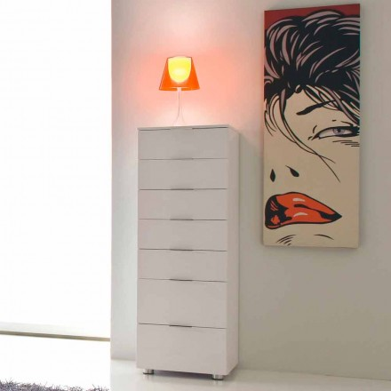 White chest of 7 drawers with a modern design Roberto