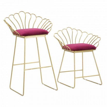 Pair of Colored Modern Design Stools in Iron and Polyester - Malika