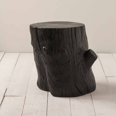 Trunk-shaped stool in painted Sherwood majolica - Toscot