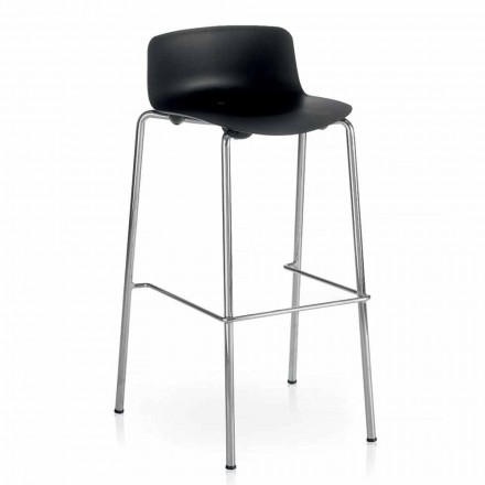 High Stool in Metal and Polypropylene Made in Italy, 2 Pieces - Christabel
