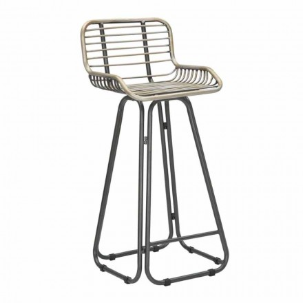 High Stool with Modern Design Iron Backrest - Zelda