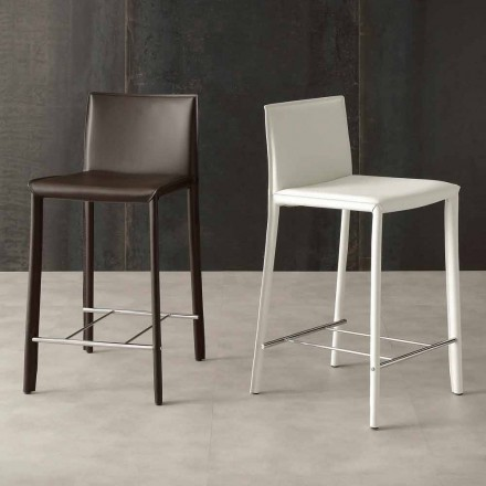 High Stool with Eco-Leather Seat, Modern Design - Urbana
