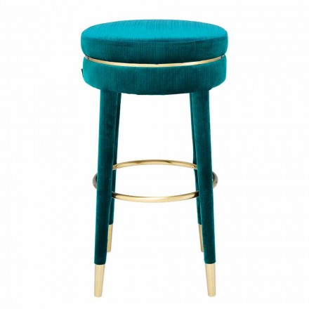 High Stool with Seat Covered in Fabric and Steel Details - Belluno