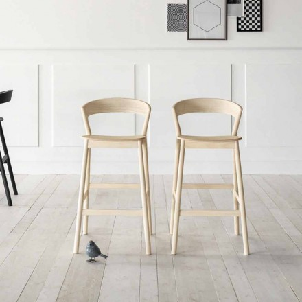 High Kitchen Stool with Ash Wood Structure Made in Italy - Oslo