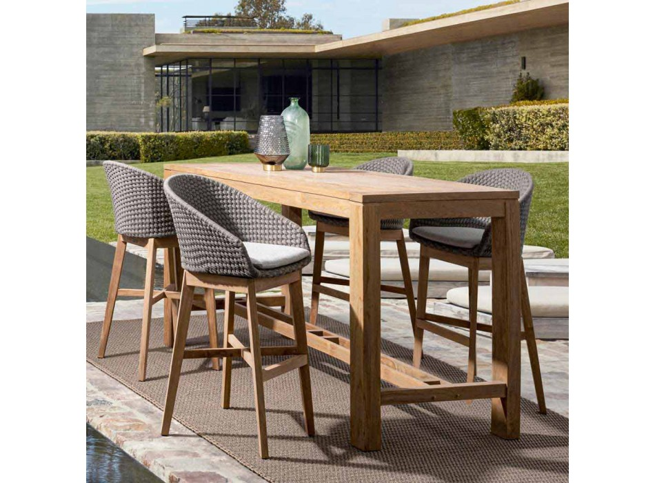 Homemotion Outdoor High Stool in Rope and Teak Wood, 2 Pieces - Anitha
