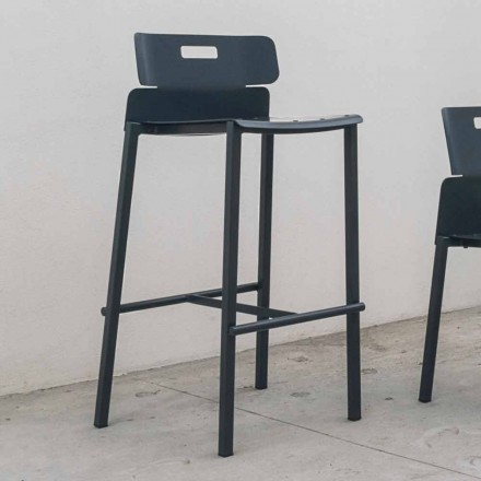 High Design Stool for Outdoor in Aluminum Made in Italy - Dobla
