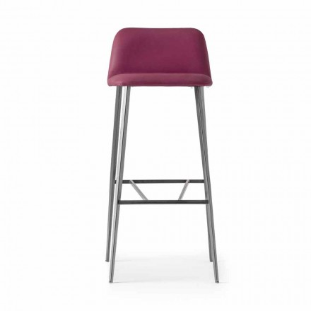High Quality Stool in Leather with Metal Base Made in Italy - Molde