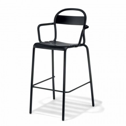 High Outdoor Stool in Aluminum with Armrests Made in Italy - Selima