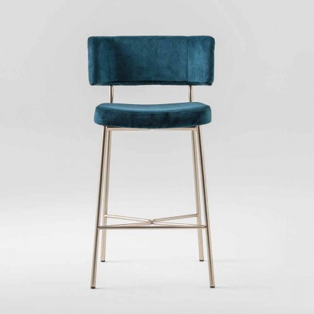 High Precious Stool with Velvet Upholstery Made in Italy - Alaska