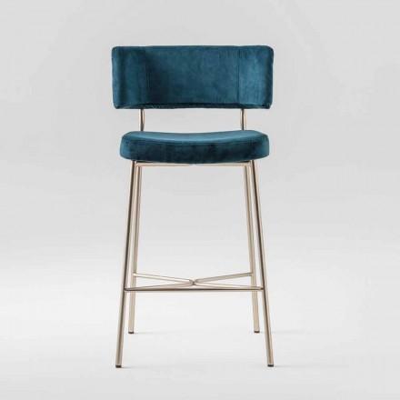 High Precious Stool with Velvet Upholstery Made in Italy - Alaska