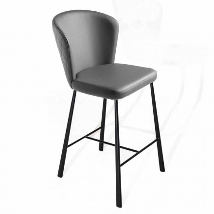 High Stool Covered in Ecoleather with Structure in Black Metal - Adina