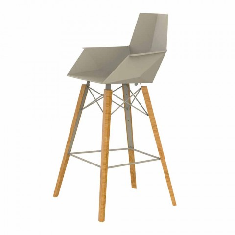 Bar Stool with Armrests in Wood and Plastic Various Colors - Faz Wood by Vondom