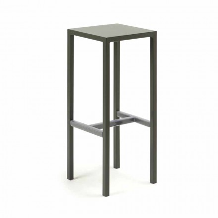 Outdoor Bar Stool in Powder Coated Metal Made in Italy - Meone