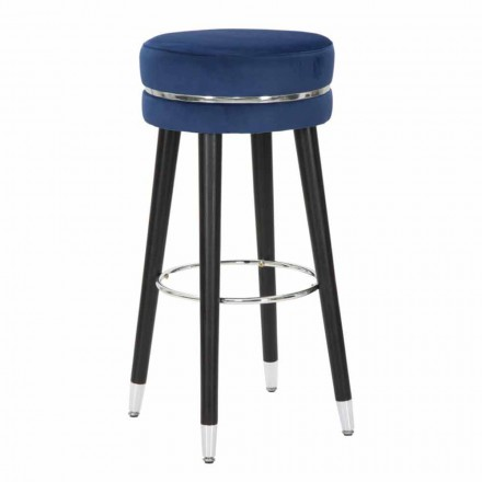 Modern Design Round Bar Stool in Fabric and Wood - Rupert