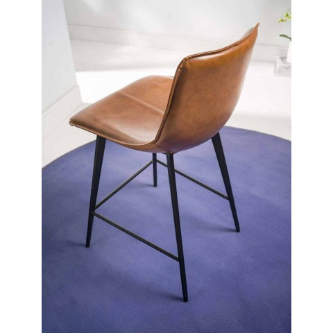 Base Stool 4 Legs, H 65 in Faux Leather Leather Effect - Ovid