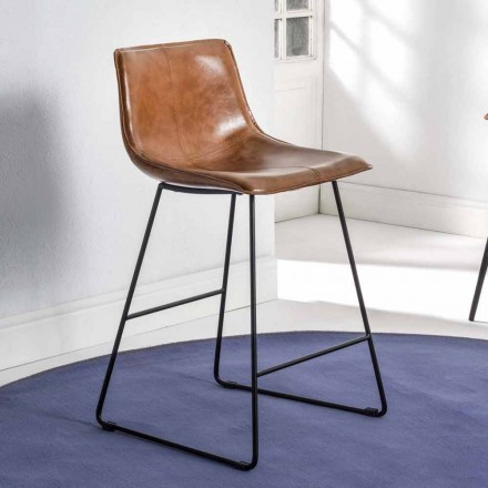 Sled Base Stool with Eco-leather Effect and Black Base - Ovidio