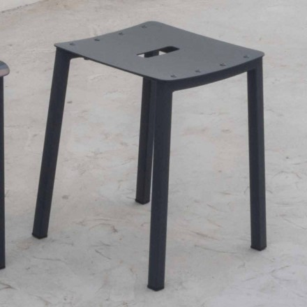 Modern Outdoor Stackable Low Stool in Aluminum Made in Italy - Dobla