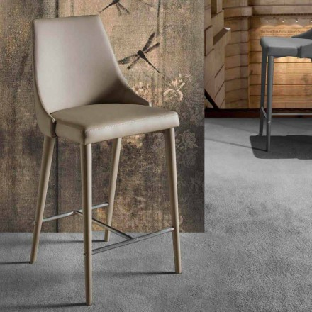 Modern Design Stool with Backrest and Metal Base - Berenice