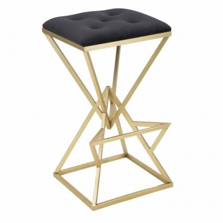 High Square Design Bar Stool in Iron and Fabric - Sillie