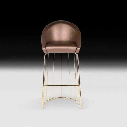 Bar stool Dedo, modern design, made in Italy, padded back and seat
