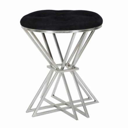 Round Bar Stool in Fabric, Iron and MDF Modern Design - Betsy
