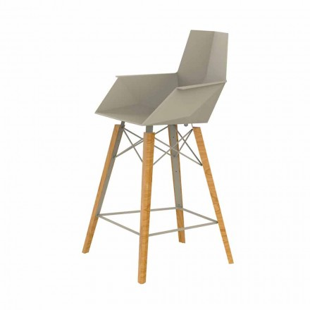 Kitchen Stool with Armrests in Wood and Plastic - Faz Wood by Vondom