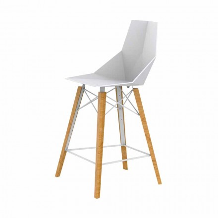Design Kitchen Stool in Wood and Plastic Various Colors - Faz Wood by Vondom
