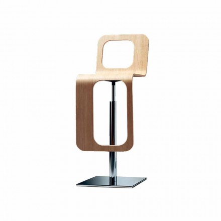 Modern Design Kitchen Stool in Oak Wood and Metal - Signorotto