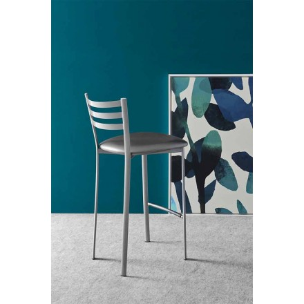 Modern Metal or Fabric Kitchen or Bar Stool Made in Italy - Ace