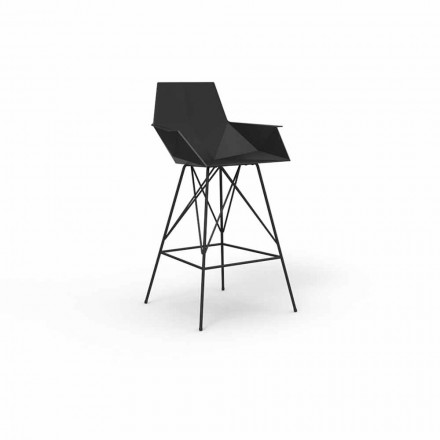 Stool with armrests Faz by Vondom in polypropylene and stainless steel