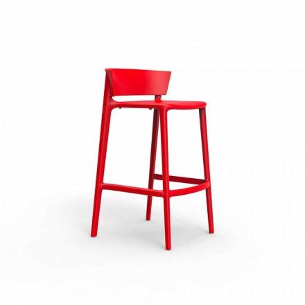 Modern outdoor stool Africa Vondom, in polypropylene with fiber glass, 4 pieces