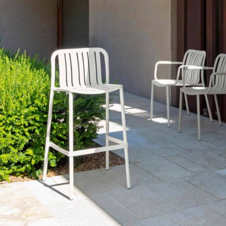 Trocadero modern outdoor stackable stool by Talenti, in aluminum