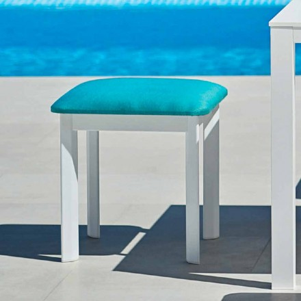 Garden stool in upholstered fabric and aluminum System by Varaschin
