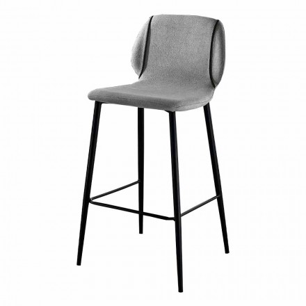 Design Living Room Stool in Fabric with Edge and Anthracite Metal - Scarat