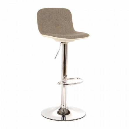 Design Stool with Gas Lift in Fabric and Chromed Metal, 2 Pieces - Chrome