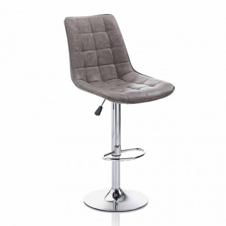 Design Stool with Leatherette Seat and Chrome Structure, 2 Pieces - Chiotta