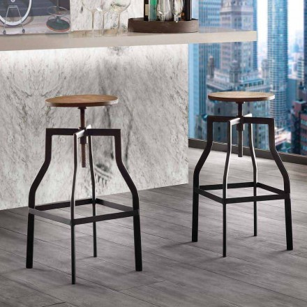 Modern design adjustable stool in metal and wood Livorno made in Italy