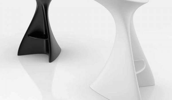 Modern solid surface stool vega handcrafted in italy
